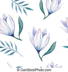 stylized, watercolor, behang, seamless, illustratio, bloemen