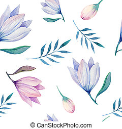stylized, watercolor, behang, seamless, illustratio, bloemen