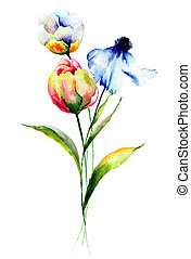 stylized, watercolor, bloemen, illustratie