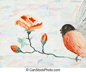 stylized, watercolor, goudvink, illustratie, rozen