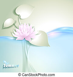 stylized, waterlily, cartão