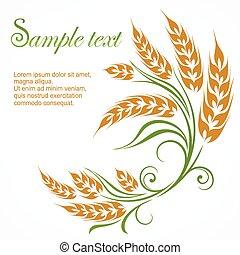 Stylized wheat pattern & text