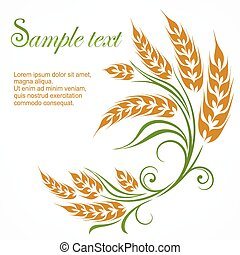 Stylized wheat pattern & text