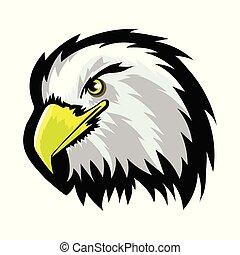 White American North Bald Eagle Head Tattoo Design. Logo Prey Bird Isolated on White Background