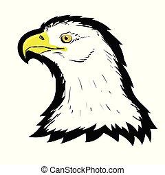 Stylized White American North Bald Eagle Head Tattoo Design. Logo Prey Bird. Predator Hawk Mascot. Symbol of Freedom.