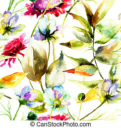 Seamless pattern with stylized wild flowers, watercolor illustration