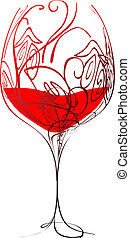 Stylized wineglass with wine and floral pattern