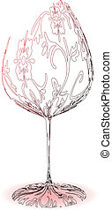 stylized, wineglass