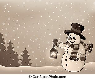 Stylized winter image with snowman 3