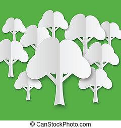 stylized, witte , papier, samenstelling, bomen