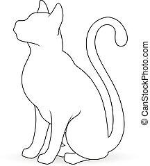 stylized, witte , silhouette, cat.