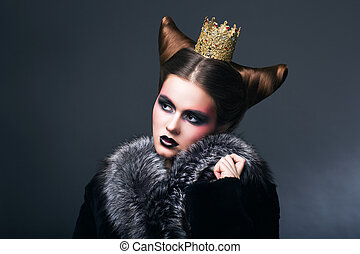 Stylized Woman in Fur Coat and Gold Grown. Nostalgia