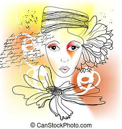 stylized, woman\\\'s, rosto