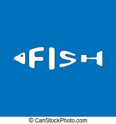 Stylized word in shape of fish isolated on blue. Seafood restraurant logo. Web icon, symbol. Vector Illustration, EPS10.