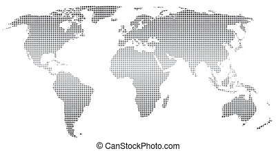 Stylized world map ,square dots. Vector. Separate layers