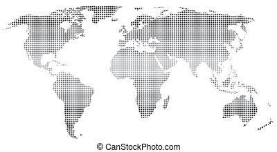 Stylized world map - Stylized world map ,square dots.Vector....