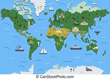 Stylized world map with tourist attraction symbols. Simple...