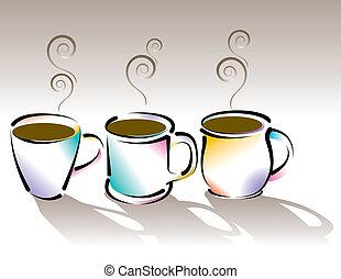 stylized, xícaras café, três