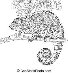 stylized, zentangle, camaleão