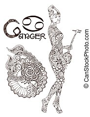 ?ancer made in mehndi style. Zodiac sign.