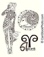 Aries made in mehndi style. Zodiac sign.