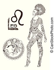 Leo made in mehndi style. Zodiac sign.