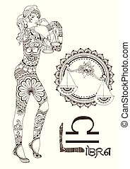 Libra made in mehndi style. Zodiac sign.
