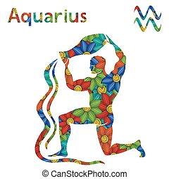 stylized, zodiac, waterman, bloemen, meldingsbord
