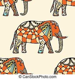 Model Etnicky Originalni Stylizovany Indicky Slon Kresleni