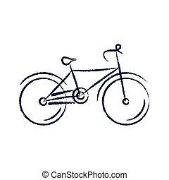 stylizovaný, jezdit na kole, vektor, ilustrace