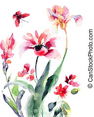stylizovaný, květiny, barva vodová, ilustrace
