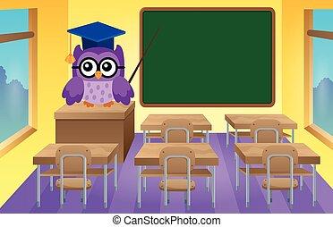 stylizovaný, sova, škola, námět
