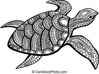 stylizovaný, turtle.