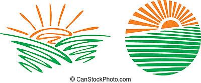 stylizovaný, západ slunce, ilustrace