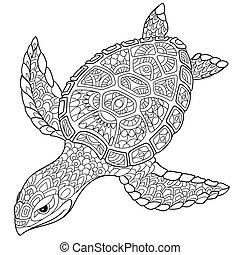 stylizowany, żółw, zentangle