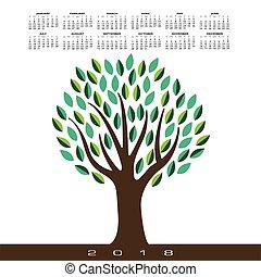 stylizowany, abstrakcyjny, drzewo, 2018, kalendarz