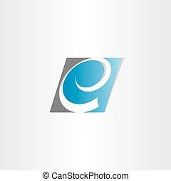 stylizowany, błękitny, symbol, e, litera
