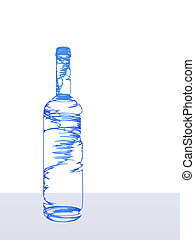 stylizowany, butelka