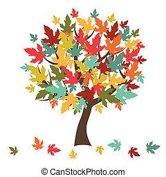 stylizowany, card., liście, drzewo, powitanie, jesień, spadanie