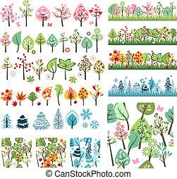 stylizowany, cielna, różny, komplet, drzewa