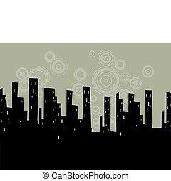 stylizowany, cityscape, wektor