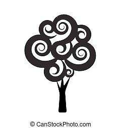 stylizowany, czarnoskóry, drzewo, ilustracja