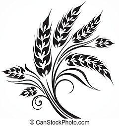 stylizowany, czarnoskóry, pszenica, kłosie
