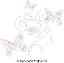 stylizowany, dekoracyjny, motyle