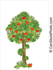 stylizowany, drzewo, jabłko
