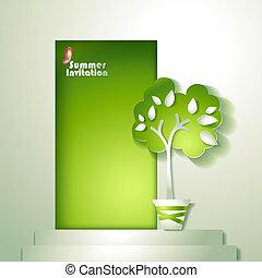 stylizowany, drzewo, karta