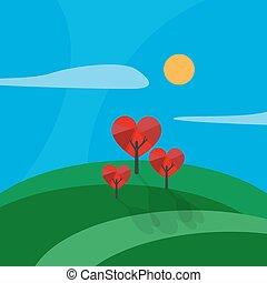 stylizowany, drzewo, robiony, miłość cerca