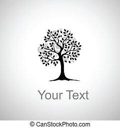 stylizowany, drzewo, rysunek
