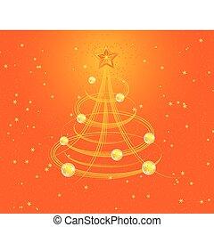 stylizowany, drzewo, wektor, boże narodzenie, tło