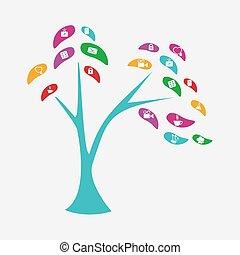 stylizowany, drzewo